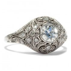 Art Déco um 1925: Antiker Platin RING mit 1,19 ct Diamanten, Diamant / Diamond