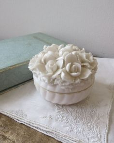 White Bone China Trinket Box Dresser by LilacandLaceVintage