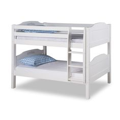 Expanditure Low Bunk Bed With Trundle - Attached Ladder - Panel Style - White Low Bunk Beds, Bunk Bed With Trundle, Kids Bunk Beds, Loft Beds, Sharing Bed, Bunk Beds With Drawers, White Headboard, Bunk Bed Designs, Bunk Beds