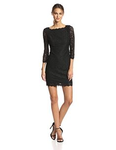Adrianna Papell Women's Sleeve Lace Dress Three-quarter-sleeve lace cocktail dress with v-back and exposed back zipper Lace Dress With Sleeves, Lace Sheath Dress, Lace Dress Black, Red Lace, V Neck Dress, Dress Skirt, Brand Review, Thing 1, Dresses Uk