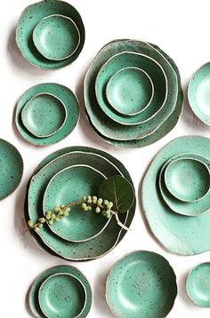 ::Feeling the vibe from this handmade serving set. Love the texture in the glaze and the rough edges:: Handmade Ceramic Serving Set Ceramic Tableware, Ceramic Bowls, Ceramic Pottery, Ceramic Art, Kitchenware, Pottery Plates, Slab Pottery, Ceramic Pendant, Stoneware Clay