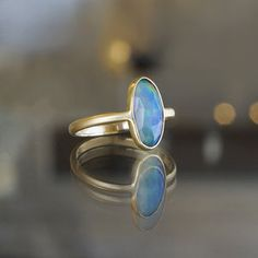 Opal and Brushed 14k Yellow Gold Bezel Ring at Sarah O. Jewelry | Denver, CO