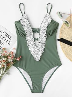 92d7d45aca SheIn offers Contrast Lace Swimsuit & more to fit your fashionable needs.