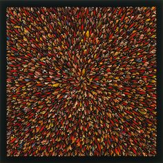Fred Tomaselli, Bird Blast, 1997, pills, leaves, collage, synthetic polymer paint, and resin on wood panel. 60 x 60 in.