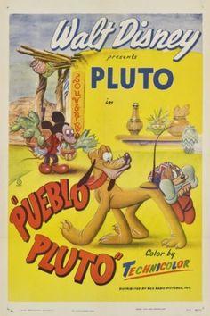"""""""Pueblo Pluto"""" Disney Cartoon short movie poster"""