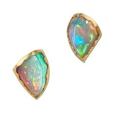 Ornella Iannuzzi Simiens Mountains opal earrings from the Lucy of Wonderland collection