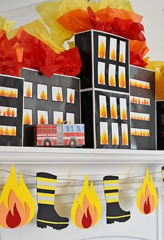 Flame and Fireman Boot Banner Printable PDF Instant Download