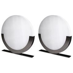 Monumental Italian Design Pair of White and Chromed Round Floor or Table Lamps   From a unique collection of antique and modern table lamps at https://www.1stdibs.com/furniture/lighting/table-lamps/