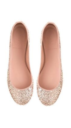 Sparkle ballet flats - would be cute for a tall bride too #weddingshoes