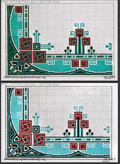 Art Nouveau cross-stitch borders and corners