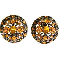 Hollycraft Yellow Topaz Rhinestone Earrings 1961
