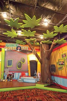 Kids playground design must have safety, goal, and theme. Here are several considerations before constructing a playground. Kids Church Decor, Kids Church Rooms, Children Church, Church Ideas, Kids Church Stage, Church Nursery Decor, Church Decorations, Sunday School Rooms, Church Stage Design