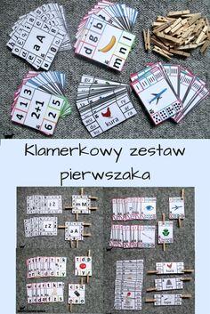 Klamerkowy zestaw pierwszaka - 152 karty + 40 klamerek Montessori, Children, Kids, Diy And Crafts, Alphabet, Kindergarten, Preschool, Activities, Education