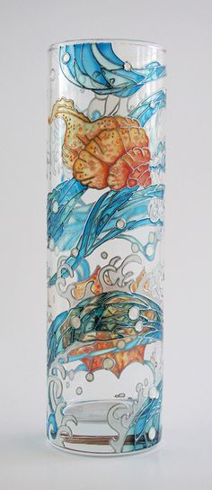 Hand painted glass vase - Seashells