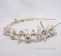 Beach Wedding Starfish and Pearl Headband Wedding Headpiece