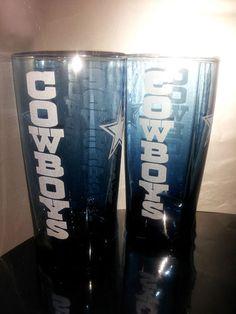 Etched Dallas Cowboys 4 Sided Blue Glass Set | eBay