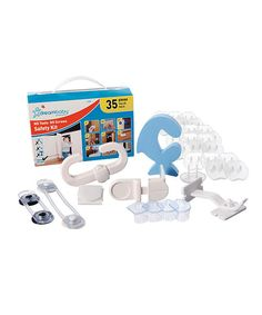 The ultimate childproofing kit! This baby safety kit includes 35 essential childproofing items, none of which require tools. It comes with outlet plugs, safety locks and latches, corner protectors and more. This handy kits is ideal for travel and makes a great gift for grandparents! Includes one appliance latch, one multipurpose latch, one mini multipurpose latch, one angel lock,...