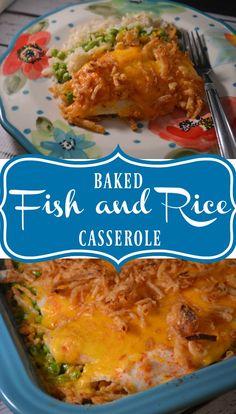 Baked Rice, Baked Cod, Gluten Free Casserole, Casserole Recipes, Rice Recipes, Seafood Recipes, Fish Casserole, Baked Flounder, Kitchens