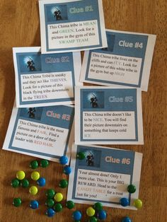 LEGO legends of Chima scavenger hunt. I came up with these clues on my own, but of course others could be used. I printed off posters from the Lego Chima website and paired with six different clues. I put kids in groups of three or four, gave them their first clue and told them to look for pics of the characters (and where they would grab the next clue card). The final clue sent them to a candy table where they got to fill up a container for their parting gift. The kids absolutely loved it!