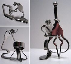 Jazz musical recycled art.  Hah. Reminds me of someone Fork Art, Spoon Art, Silverware Jewelry, Spoon Jewelry, Recycled Silverware, Sculpture Metal, Abstract Sculpture, Cool Art Projects, Scrap Metal Art