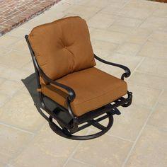 Evangeline Cast Aluminum Swivel Rocker Patio Club Chair