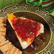 Nothing's easier or better than pepper jelly on cream cheese.  Love the new look for Christmas!