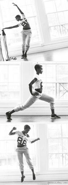 Lauren Williams stretching, Garbe Luxe pants, Nike sneakers / Garance Doré