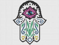 Hamsa Cross Stitch or Needlepoint Pattern PDF  by KikiStitches