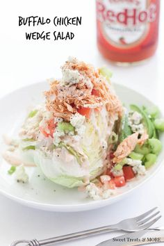 Buffalo Chicken Lettuce Wedge || Sweet Treats and More #recipe #salad #appetizer