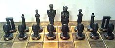 A rough take-off of the Easter Island chess set.