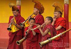 Buddhist ceremony, gompa Thiksey, Indus valley, Ladakh