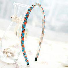 Braided Chain-Trim Hair Band Blue, Orange - One Size Hair Band, Blue Orange, Friendship Bracelets, Braids, Chain, Stuff To Buy, Jewelry, Nice Braids, Cornrows