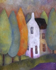 Tall House and Conifers by Jeremy Mayes