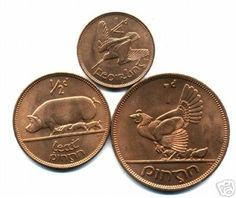 1950s Irish Bronze Coins - a ha'penny, a penny and a farthing.