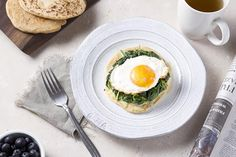 Grain Free Flatbread with Creamed Spinach and Fried Egg