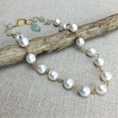 White Pearl Necklace  Baroque Freshwater Pearls with by AUREATA