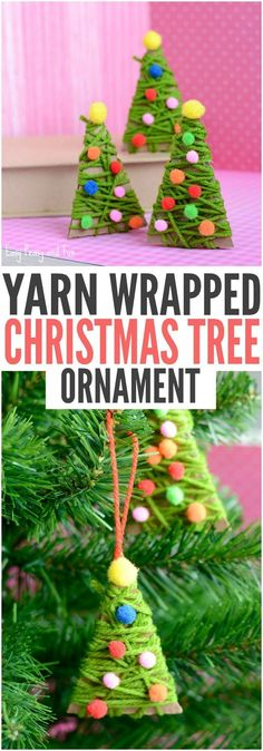 DIY Yarn Wrapped Christmas Tree Ornament - Christmas ornaments for kids to make at a holiday party