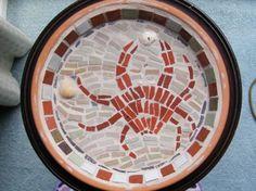 Crab mosaic birdbath