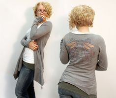 DIY up cycled t shirt cardigan!  Made from two t shirts, one long sleeved.