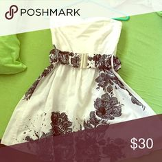 Spring dress White with black flowers. Short and flowing. Will negotiate with price Derek Heart Dresses Strapless