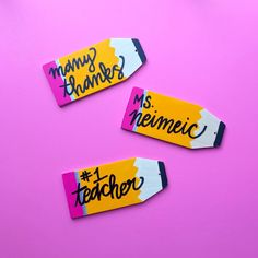 Pencil Gift Tags for Teacher Gifts Yellow Painting, Diy Painting, Silver Sharpie, Cute Phrases, Sharpie Markers, Wood Gifts, Zig Zag Pattern, Paint Pens, Gift Bags
