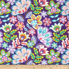 Michael Miller Fiesta Esme Grape from @fabricdotcom Designed for Michael Miller, this cotton print is perfect for quilting, apparel and home decor accents. Colors include white, aqua blue, lime green, dark purple, pink, peach and orange.