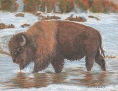 """Brisk Walk"" original oil pastel by Jan Burley (sold)"