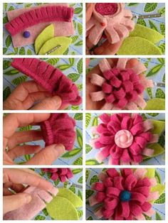 DIY felt flowers that can be used for pins, hair clips, head bands, etc.: