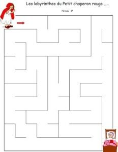 labyrinthes petit chaperon rouge (free printable mazes: one easy, one medium, one hard)