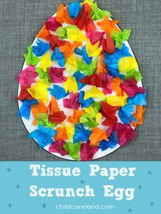Tissue paper scrunch egg for fine motor development.