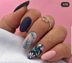 Spring Nail Art, Spring Nails, Summer Nails, Nail Designs Spring, Tropical Nail Designs, Fruit Nail Designs, Stylish Nails, Trendy Nails, Almond Nail Art