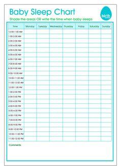 Baby sleeping chart printable