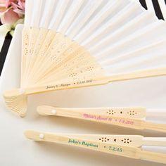 personalized white silk folding fan from fashioncraft