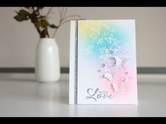 White embossing and rainbow ink blending - YouTube